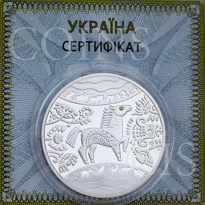 Ukraine 2014 5 UAH Lunar Year of the Horse Proof Silver Coin with Zirconium