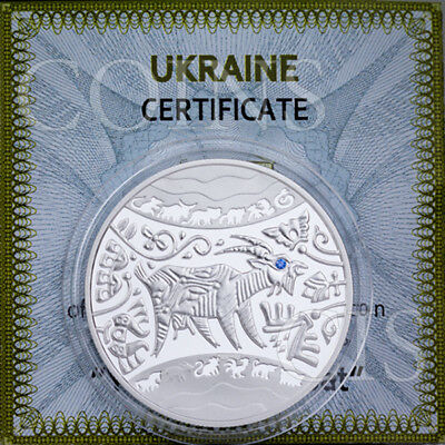Ukraine 2015 5 UAH Lunar Year of the Goat Proof Silver Coin with Zirconium