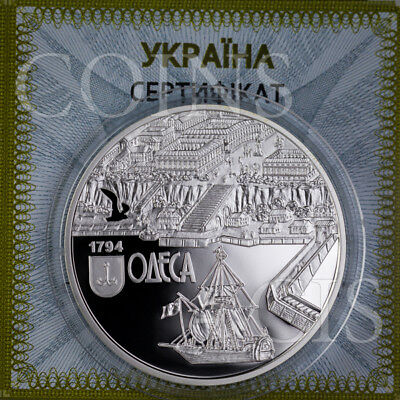 Ukraine 2014 10 UAH 220 Years of the City of Odesa Ship 1oz Proof Silver Coin
