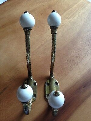 Vintage Brass + China Coat Wall Hat Hooks Pair