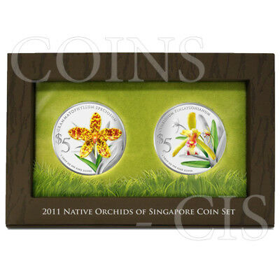 Singapore 2011 2 x 5$ Native Orchids of Singapore Proof Silver Set