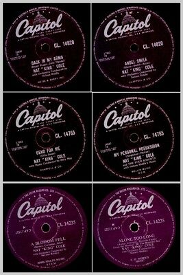 3x NAT KING COLE sings His Romantic Songs on 78rpm;  Schellackplatte   Set788