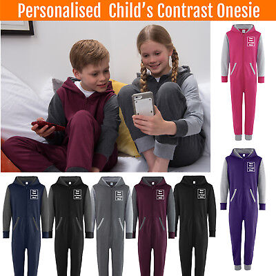 Custom Printed CONTRAST Childs Personalised Jumpsuit Kids All in One piece sie