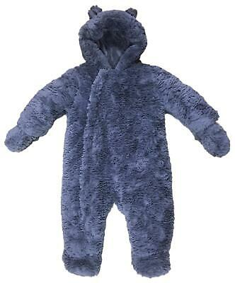 Baby Snowsuit Fluffy Grey Ex Mothercare Rrp £34 Boys Girls Padded All In One New