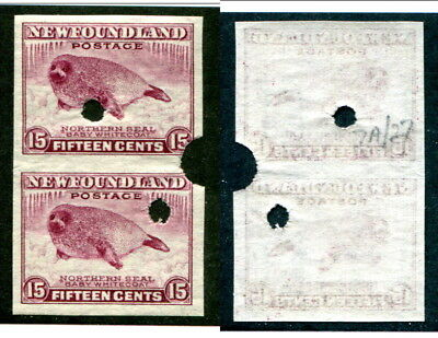 Newfoundland 15 Cent IMPERF PAIR with SECURITY PUNCHES #262ii (Lot #13663)