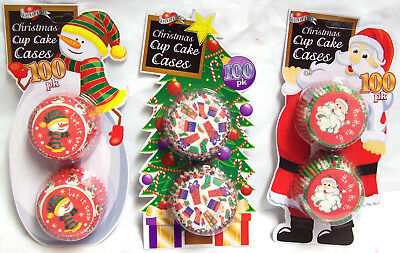 300 Festive Christmas Paper Cup Cake Cases Traditional Santa Snowman Stockings