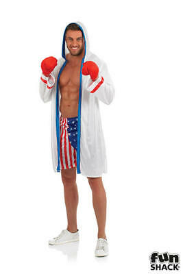 Mens Boxing Fancy Dress Costume Boxer Outfit Stag Do New M