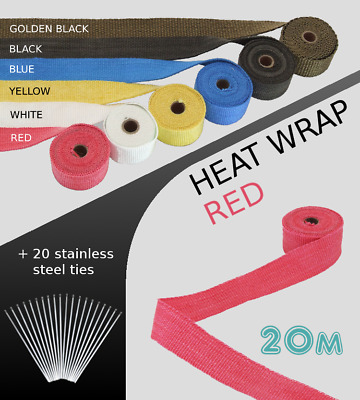 UNIVERSAL CAR BIKE EXHAUST HEAT WRAP with ties-20 METRE RED 20M-RED-FRD3