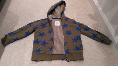 Mini Boden Boys Star Print Thick Cosy Hooded Jumper Hoodie Top 4-5 years winter