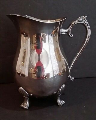 Vintage Silverplate Footed Water Pitcher with Ice Guard
