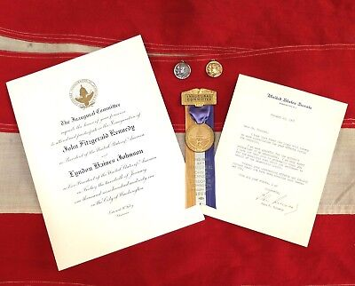 Rare John F Kennedy Jfk Inauguration Lot Invitation Ribbon Medal Signed Letter