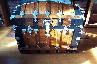 GORGEOUS RARE Refinished Antique Dome Top Steamer Trunk Chest H.W.Rountree&Bro