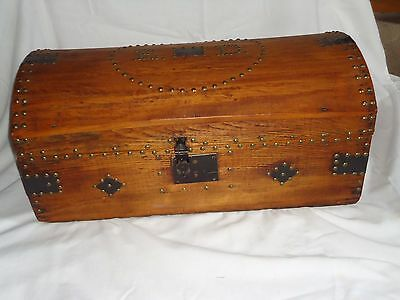 Antique Wood Trunk Brass Tacks Round Top Antique Wooden Carriage Trunk Box
