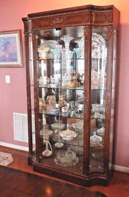 HENREDON Very Large French Empire Lighted Curio Vitrine Cabinet GORGEOUS!