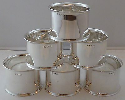 Boxed Set 6 Silver Plated Napkin Rings Serviette Ring 1960's Excellent Condition