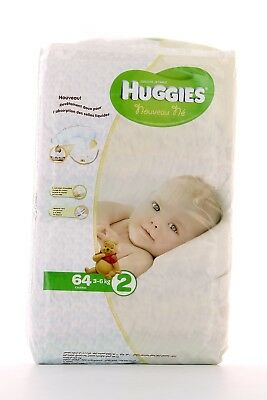 Lot 3 paquets de Couche Huggies Taille 2 (3-6kg) total 192 couches no pampers