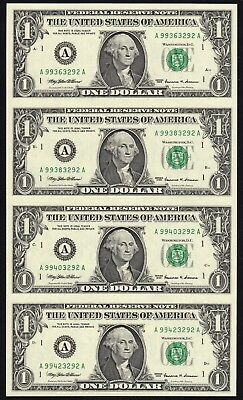 Uncut Sheet of four 1999 $1 Boston Federal Reserve Note FRN, Free shipping !