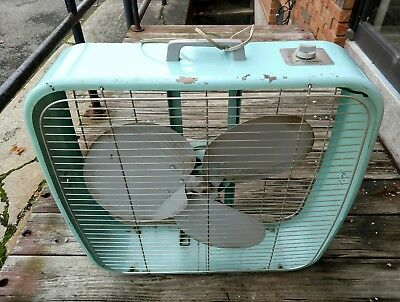 Vintage Dominion Model 2074 Industrial Box Fan metal 3 blades USA VGC works