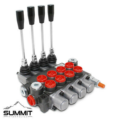 4 Spool Monoblock Hydraulic Directional Control Valve, 11 GPM, SAE Ports