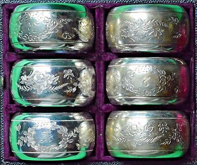 Superb set of 6 engraved and numbered Edwardian silver plate napkin rings + box