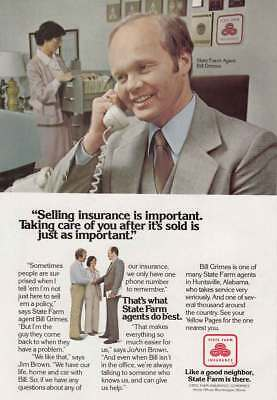1979 State Farm: Selling Insurance is Important Vintage Print Ad