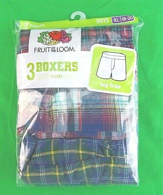 Fruit of the Loom Boys' Tartan Woven Boxer (Pack of 3) XL *New/Sealed*