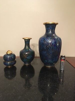 Mixed Lot of 3 Chinese Cloisonne vases