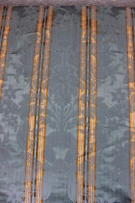 French Antique Blue Floral & Ribbons Silk Emberline Fabric c1870-80~Frame Layout