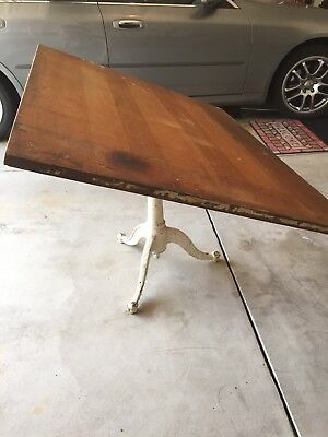 Antique Drafting Table Cast Iron Base Drawing Table Shabby Paint LOCALPICKUP