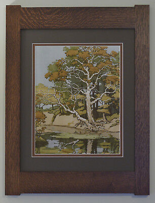 Mission Style Bungalow Quartersawn Oak Arts & Crafts Framed Print- Old Sycamore