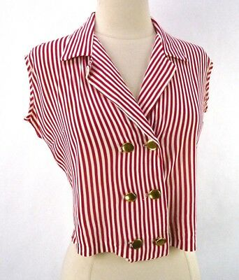 Vintage 60s Red/White Stripe Crop Top Blouse M - Nautical Sailor Style Pinup