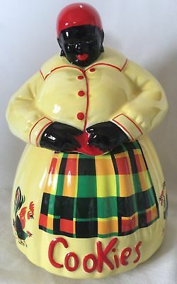 Black Americana Aunt Jemima Cookie Jar - signed McCoy - Yellow Chickens Roosters