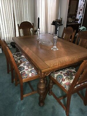 10 Piece antique oak Jacobean dining set