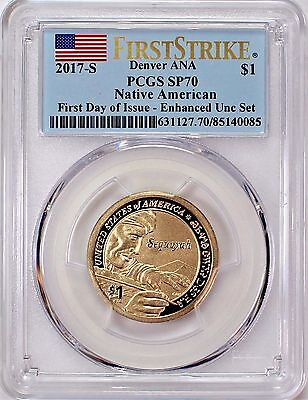 2017 S Enhanced Unc Set Native Dollar PCGS SP70 First Day of Issue Denver ANA