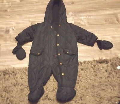 Baby Boys Navy  Blue quilted all in one snow suit with Mittens age 3 - 6 months