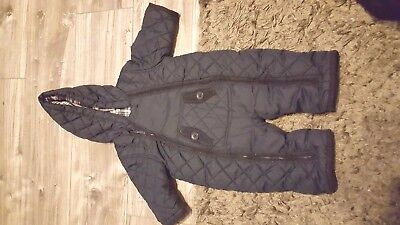 Baby Boys Navy Blue quilted all in one snow suit age 3 - 6 months Mothercare
