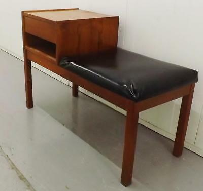 Old Vintage Wooden Telephone Seat With Table Retro Mid Century