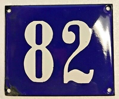 Antique French Enamel House Number Sign, Door gate plaque street plate 82