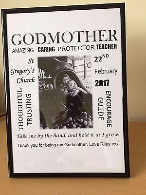 Personalised Godparents Gift Godmother Godfather Thank You Keepsake