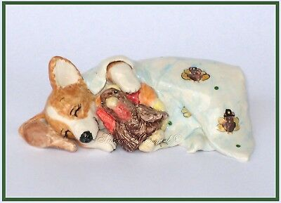 "SUSAN KIMMEL CORGI SCULPTURES ~ ""Thanksgiving Dreams"" *OOAK*"