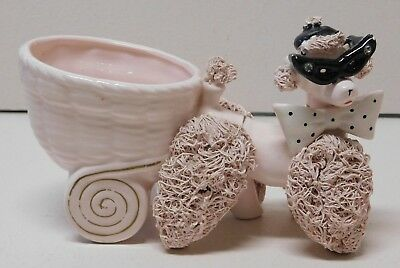 Napco Pink Poodle Spaghetti Planter with Glasses, Hat, Bowtie and Rhinestones