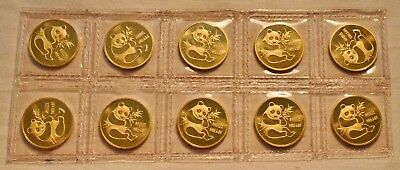 Lot of (10) 1982 1/10 oz. Gold Pandas Sealed Intact Sheet of 10 Coins China Mint