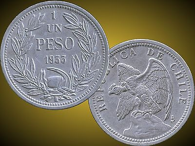 Lot Of 7 1933 Chile 1 Peso Coins