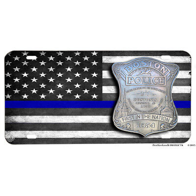 Boston Police First In Nation 1854 Emblem Blue Line Flag Aluminum License Plate