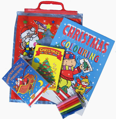 Kids 4Pc Christmas Activity Pack Party Gift Bag Sticker Colouring Books Crayons