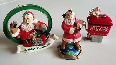 Lot of 3 Coca Cola Christmas Ornaments, EXCELLENT CONDITION
