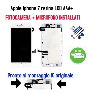 LCD retina Display Touch Apple Iphone 7 AAA+ Bianco +Fotocamera+Audio COMPLETO