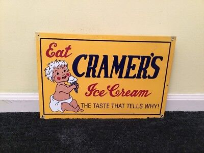 """Vintage Cramer's Ice Cream W/ Baby Boy+ Cone 17"""" X 11"""" Embossed Metal Dairy Sign"""