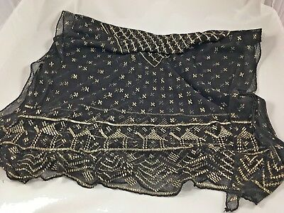 """Assuit Antique Black Mesh and Hammered Silver Shawl 90"""" x 32"""" from the 1920's"""