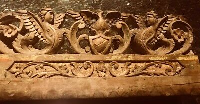 Antique Sicilian Cart Panel, Carved Wood,  Eagle Coat of Arms